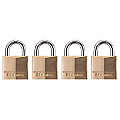 30mm Solid Brass Padlock Keyed Alike (Quad Pack)