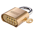 51mm Brass Changeable Combination Padlock, Four Dials, Key Override